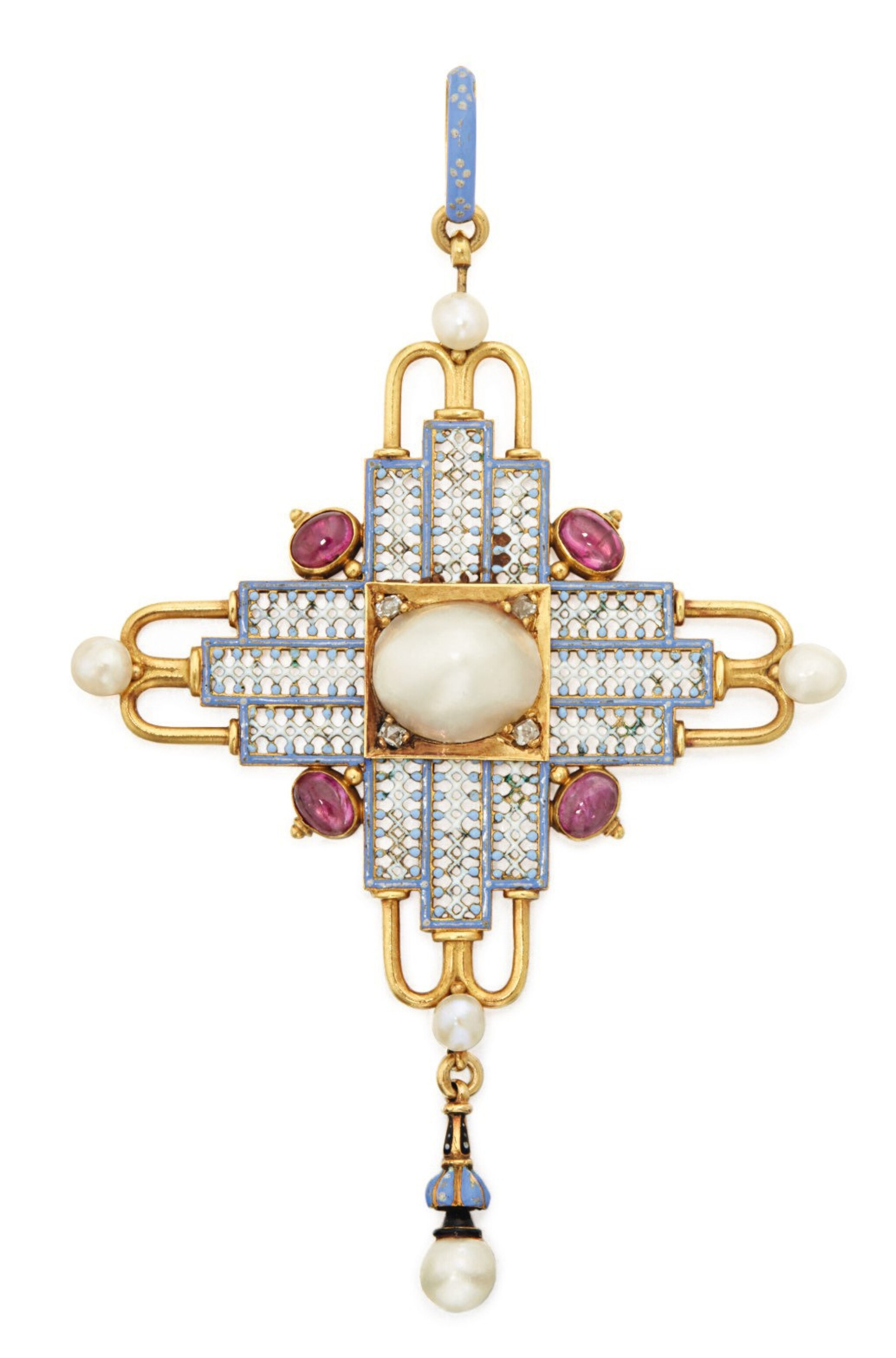 View full screen - View 1 of Lot 46. CARLO GIULIANO   GOLD, PEARL, RUBY, ENAMEL AND DIAMOND PENDANT.