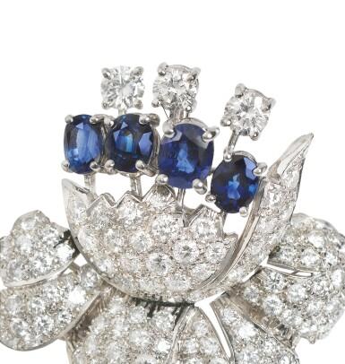Sapphire and diamond brooch [Broche saphirs et diamants]