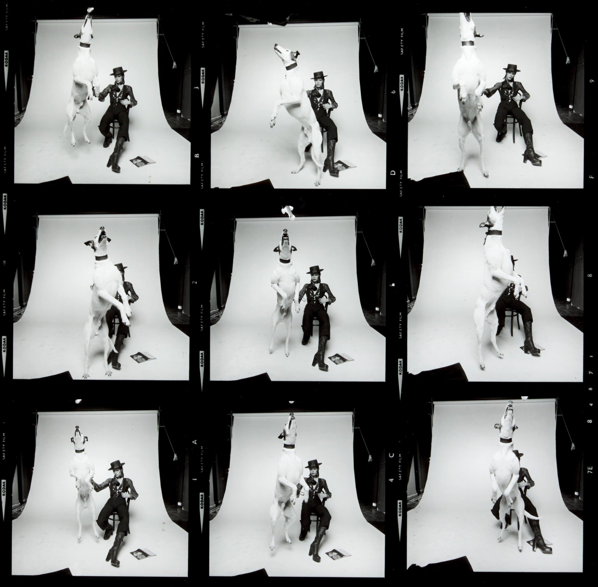 View full screen - View 1 of Lot 214. TERRY O'NEILL |  DAVID BOWIE, DIAMOND DOGS, CONTACT SHEET, 1974.