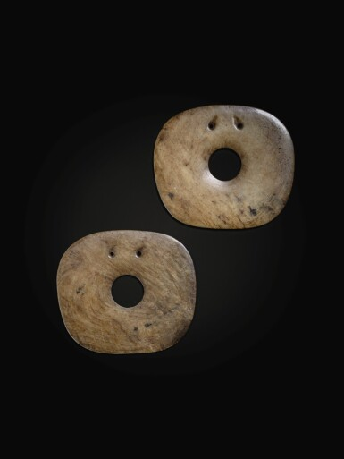 View 2. Thumbnail of Lot 75. A superb pair of calcified jade rounded square disc ornaments Neolithic period, Hongshan culture | 新石器時代 紅山文化方圓玉璧一對.