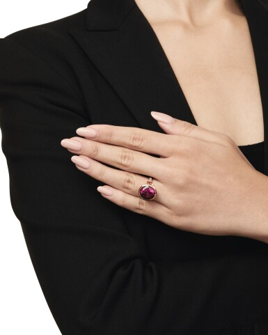 View 4. Thumbnail of Lot 146. Nigel O 'Reilly | Garnet, Fancy Colored Sapphire and Colored Diamond 'Plato's Garnet' Ring.