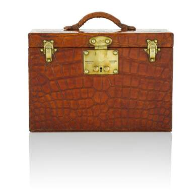 View 2. Thumbnail of Lot 98. Art Deco Torino Crocodile Skin Gentleman's Dressing Case, Complete with all of the Original Fittings commissioned in 1934..
