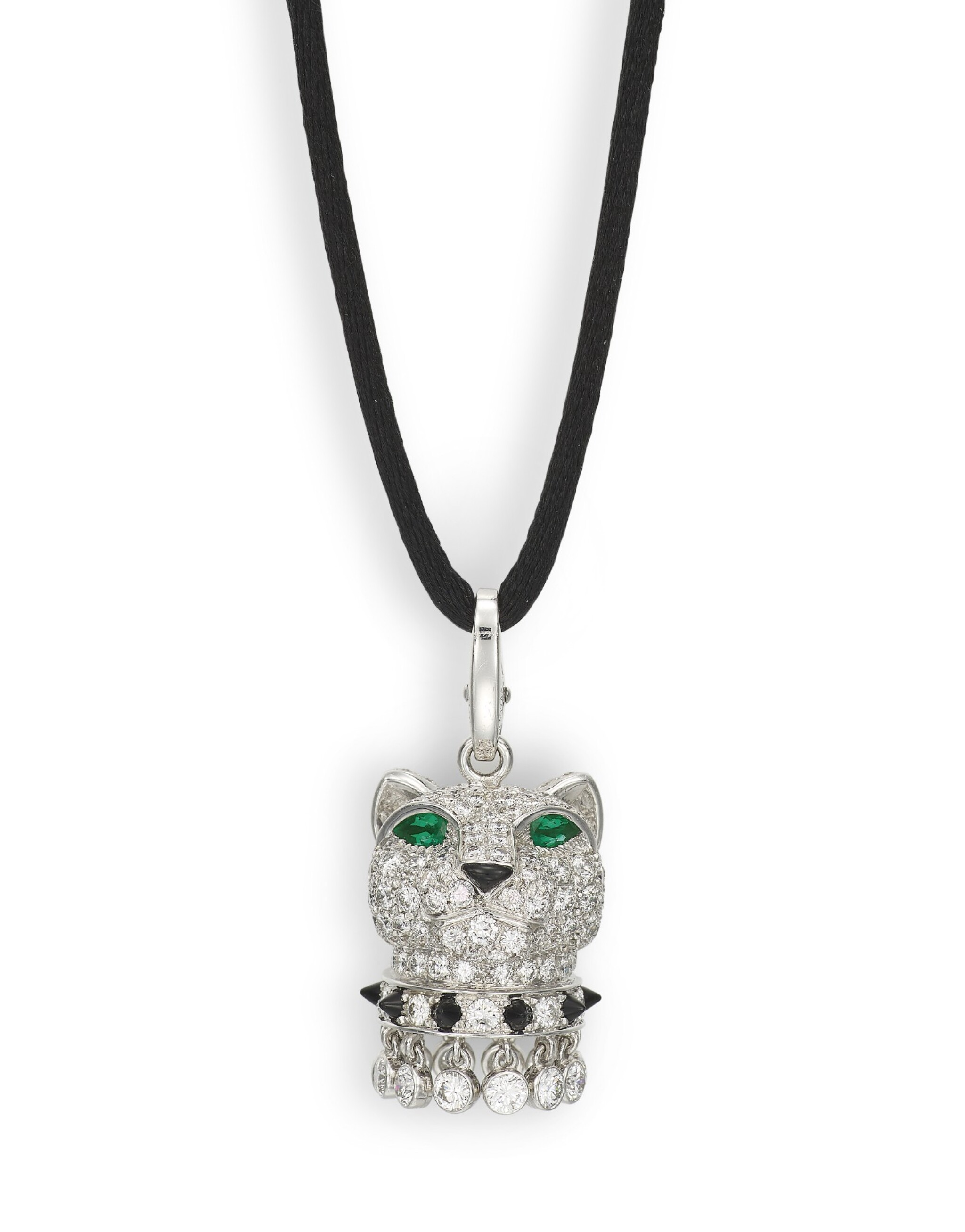 View full screen - View 1 of Lot 1703. CARTIER    'PANTHÈRE' DIAMOND, EMERALD AND ONYX PENDENT NECKLACE   卡地亞   'Panthère' 鑽石 配 祖母綠 及 縞瑪瑙 項鏈.