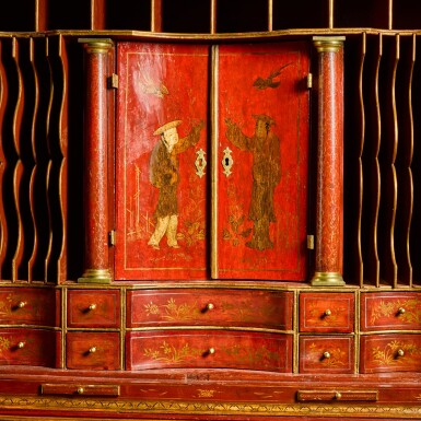 View 5. Thumbnail of Lot 63. A George I gilt heightened red japanned bureau cabinet, first quarter 18th century.