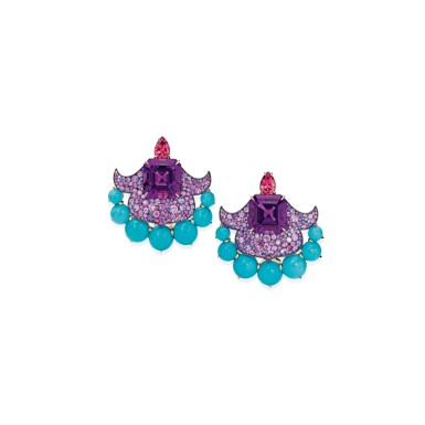 PAIR OF AMETHYST, TURQUOISE, SPINEL AND MULTI-COLORED SAPPHIRE EARCLIPS, DAVID MICHAEL | 紫水晶配綠松石、尖晶石及彩色剛玉耳環一對,David Michael