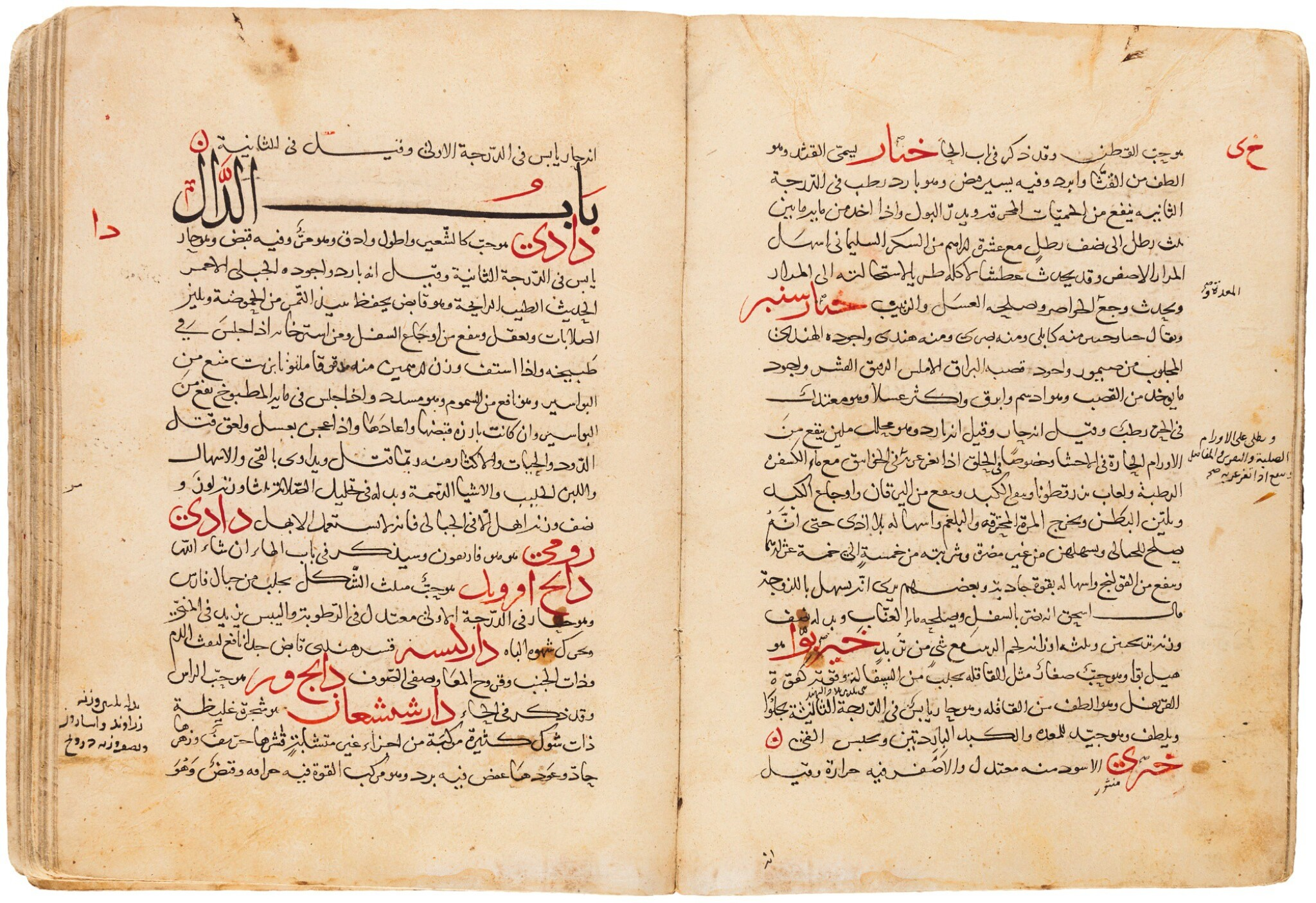 View full screen - View 1 of Lot 116. ABU 'ALI YAHYA B. 'ISA B. JAZLAH AL-BAGHDADI, KNOWN AS BEN GESLA (D.1099 AD), KITAB MINHAJ AL-BAYAN FI-MA YASTA'MILUHU AL-INSAN, ('A SYSTEMATIC EXPOSITION OF WHAT IS USED BY MAN'), MESOPOTAMIA OR WEST PERSIA, LATE 13TH/14TH CENTURY.
