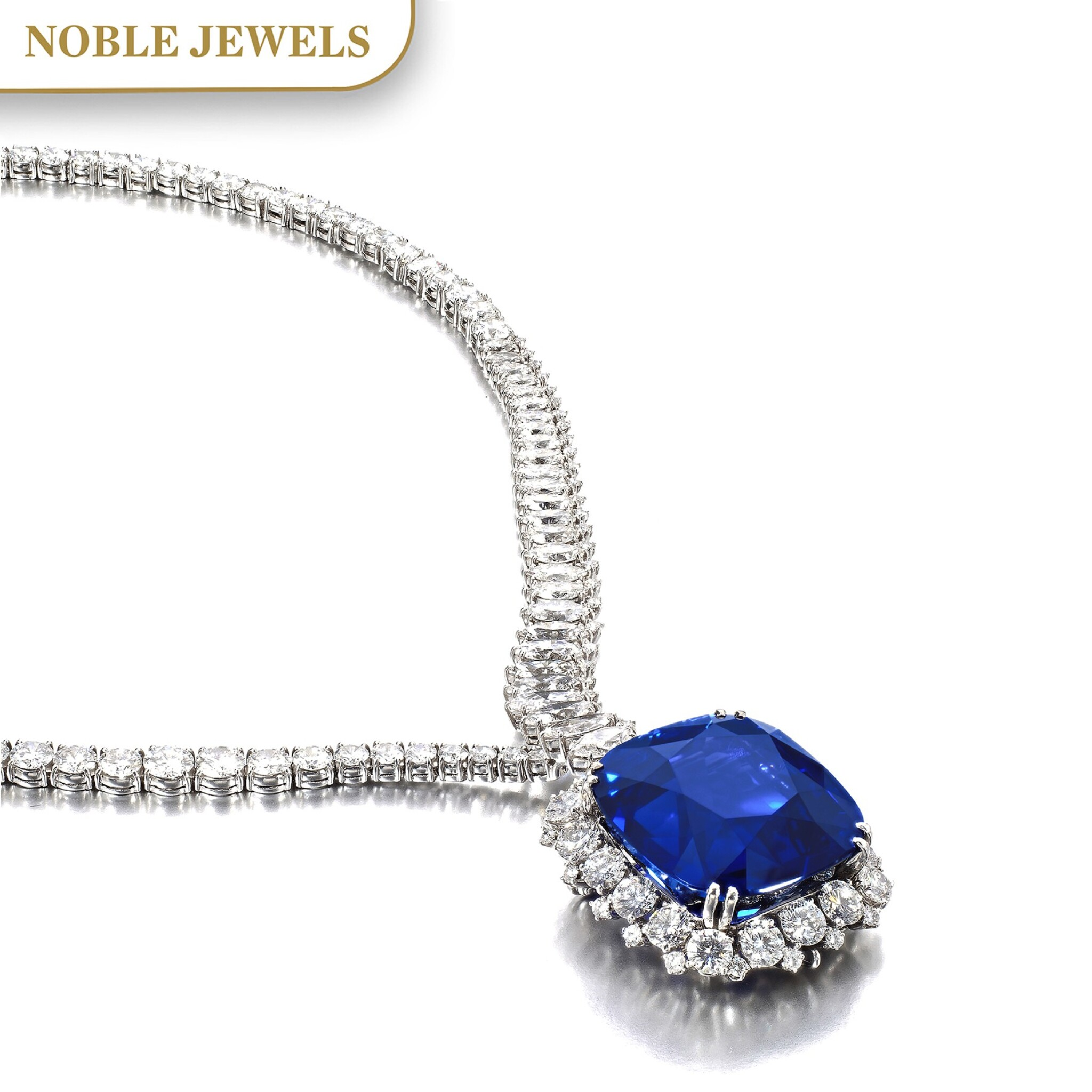View full screen - View 1 of Lot 178. Harry Winston | Exceptional and important sapphire and diamond necklace | 海瑞溫斯頓 | 藍寶石配鑽石項鏈.