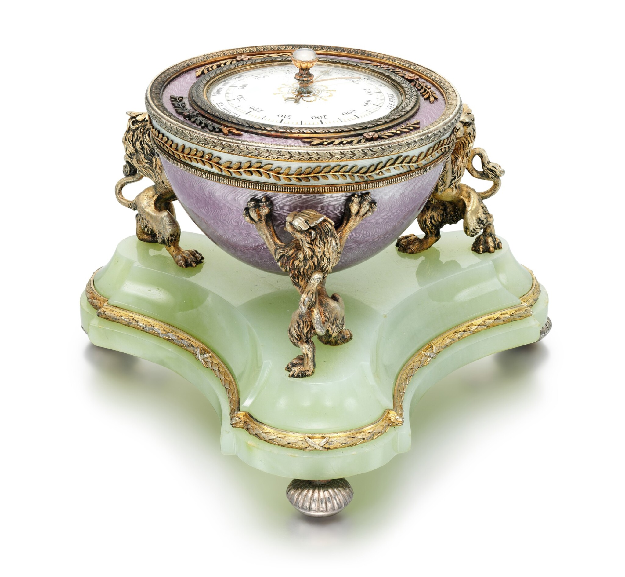View full screen - View 1 of Lot 20. A Fabergé silver-gilt guilloché enamel and bowenite barometer, workmaster Henrik Wigström, St Petersburg, 1903.