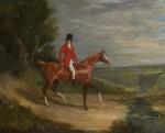 JOHN FREDERICK HERRING SNR.   Equestrian portrait of a gentleman riding a chestnut hunter, wearing hunting habit, an extensive landscape beyond