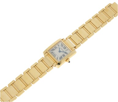 View 5. Thumbnail of Lot 84. REFERENCE 2385 TANK FRANCAISE A YELLOW GOLD RECTANGULAR BRACELET WATCH, CIRCA 1999.