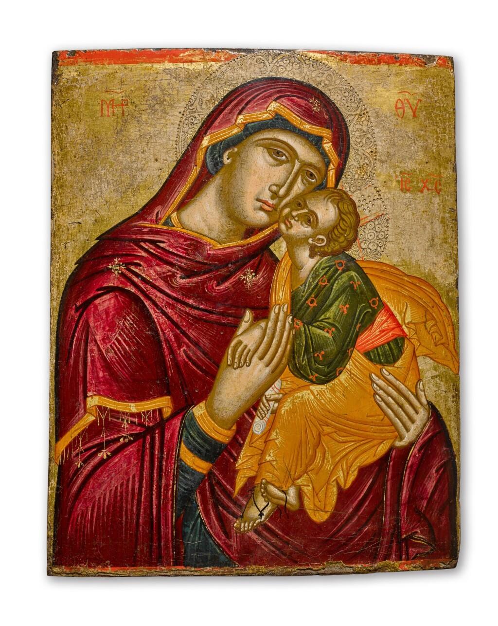 AN ICON OF THE MOTHER OF GOD GLYKOPHILOUSA, VENETO-CRETAN, 16TH CENTURY