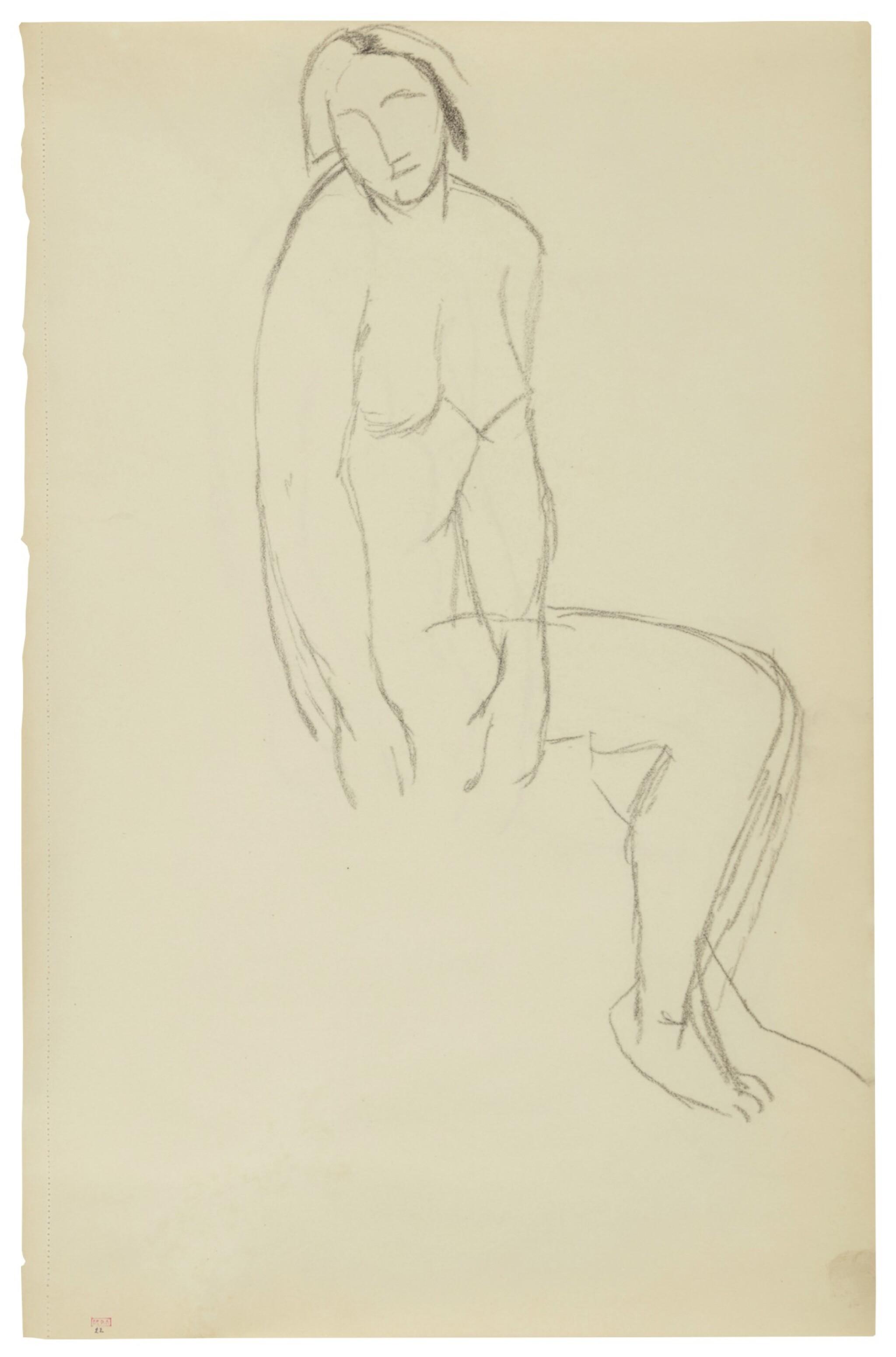 View full screen - View 1 of Lot 62. Femme nue assise de trois quarts.