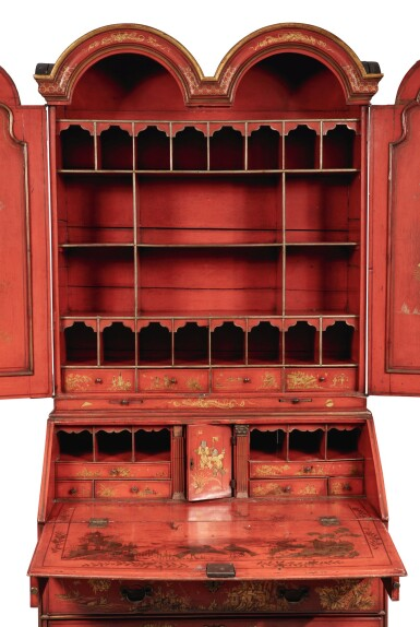 View 3. Thumbnail of Lot 119.  A GEORGE III RED JAPANNED BUREAU CABINET, SECOND QUARTER 18TH CENTURY.