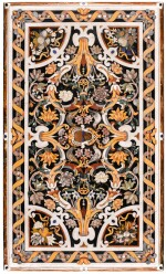 A SOUTH ITALIAN MOTHER-OF-PEARL, ROCK CRYSTAL, AVENTURINE, MARBLE AND PIETRE DURE INLAID TOP, LATE 17TH CENTURY, NAPLES, CIRCLE OF COSIMO FANZAGO