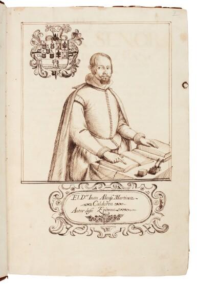 View 2. Thumbnail of Lot 179. Martínez Calderón, Epitome de las historias de la gran casa de Guzman, manuscript dated 1638, 2 volumes.