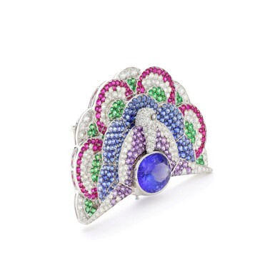 View 2. Thumbnail of Lot 23. MICHELE DELLA VALLE | GEM SET AND DIAMOND BROOCH.