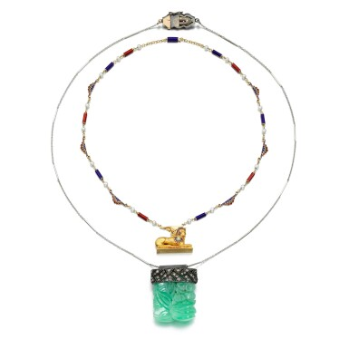 View 3. Thumbnail of Lot 56. JADEITE AND DIAMOND PENDANT NECKLACE AND AN ENAMEL AND SEED PEARL NECKLACE.