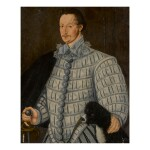 CIRCLE OF GEORGE GOWER | PORTRAIT OF A GENTLEMAN, THREE-QUARTER LENGTH, WITH HIS DOG