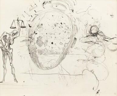 Salvador Dali Etude Pour Le Tableau Vitesse Maximale De La Vierge De Raphael 1954 Et Deux Personnages Recto Etude Pour Le Tableau Galatee En Formation Vers 1954 Verso