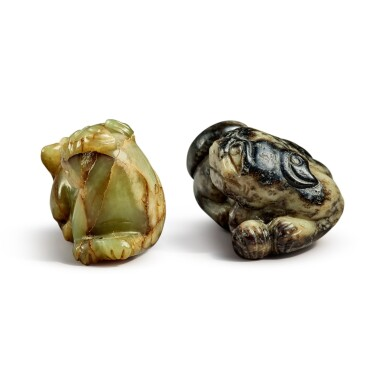 View 3. Thumbnail of Lot 172. Two jade 'Buddhist lions' pendants, 20th century.