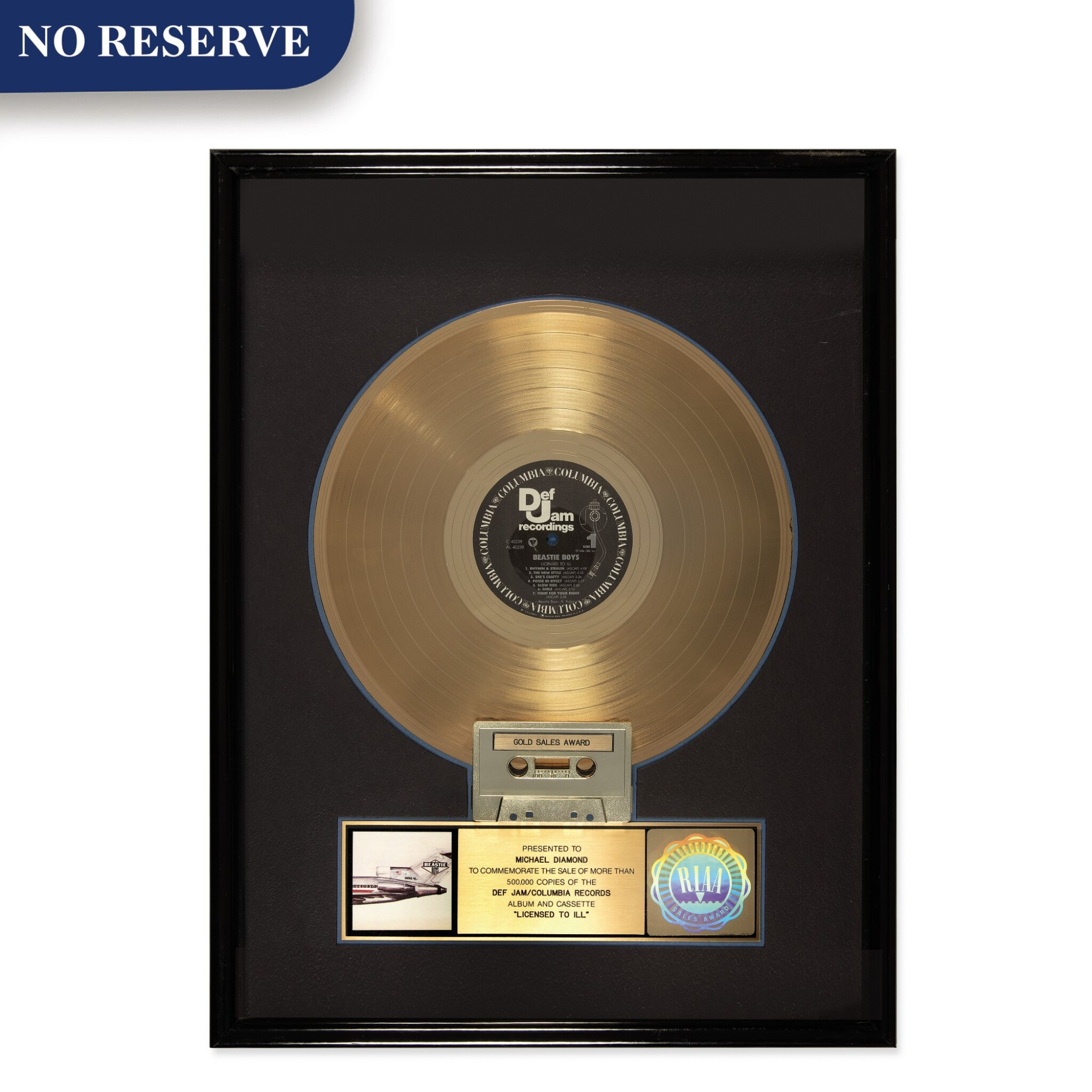 "View full screen - View 1 of Lot 302. RIAA 1987 Gold Sales Award presented to Michael Diamond for the Beastie Boys 1986 Columbia/Def Jam album ""Licensed to Ill""."