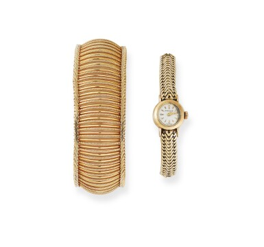 MONTRE BRACELET DE DAME OR, ET UN BRACELET OR, BREITLING | LADY'S GOLD WRISTWATCH AND A GOLD BRACELET, BREITLING