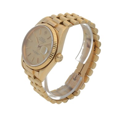 View 2. Thumbnail of Lot 193. DATEJUST, REF 16018 YELLOW GOLD WRISTWATCH WITH DATE AND BRACELET CIRCA 1979.