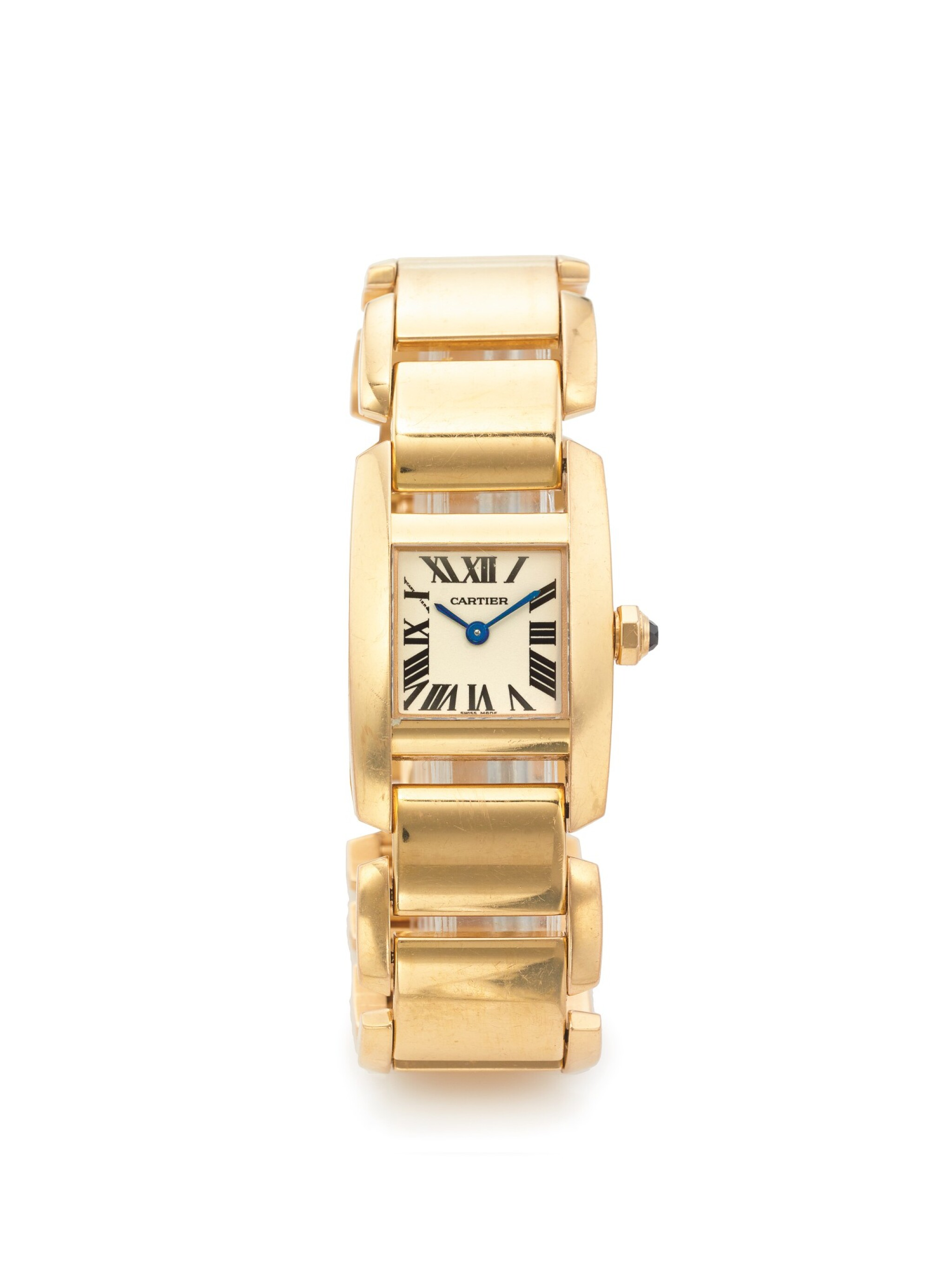 View 1 of Lot 34. CARTIER | REF 2801 TANKISSIME, A PINK GOLD WRISTWATCH WITH BRACELET CIRCA 2005.