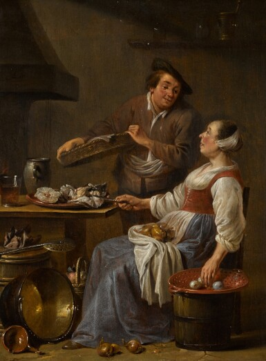 JAN OLIS | A kitchen maid and a fishmonger in an interior