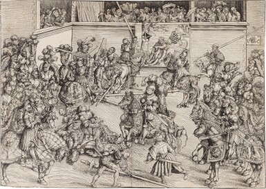 View 1. Thumbnail of Lot 44. The Second Tournament with the Tapestry of Samson and the Lion (B. 126; Holl. 117).