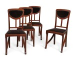 A SET OF FOUR ART NOUVEAU MAHOGANY SIDE CHAIRS, CIRCA 1900, ATTRIBUTED TO EDOUARD DIOT, PROBABLY MADE BY MAISON DIOT OF PARIS