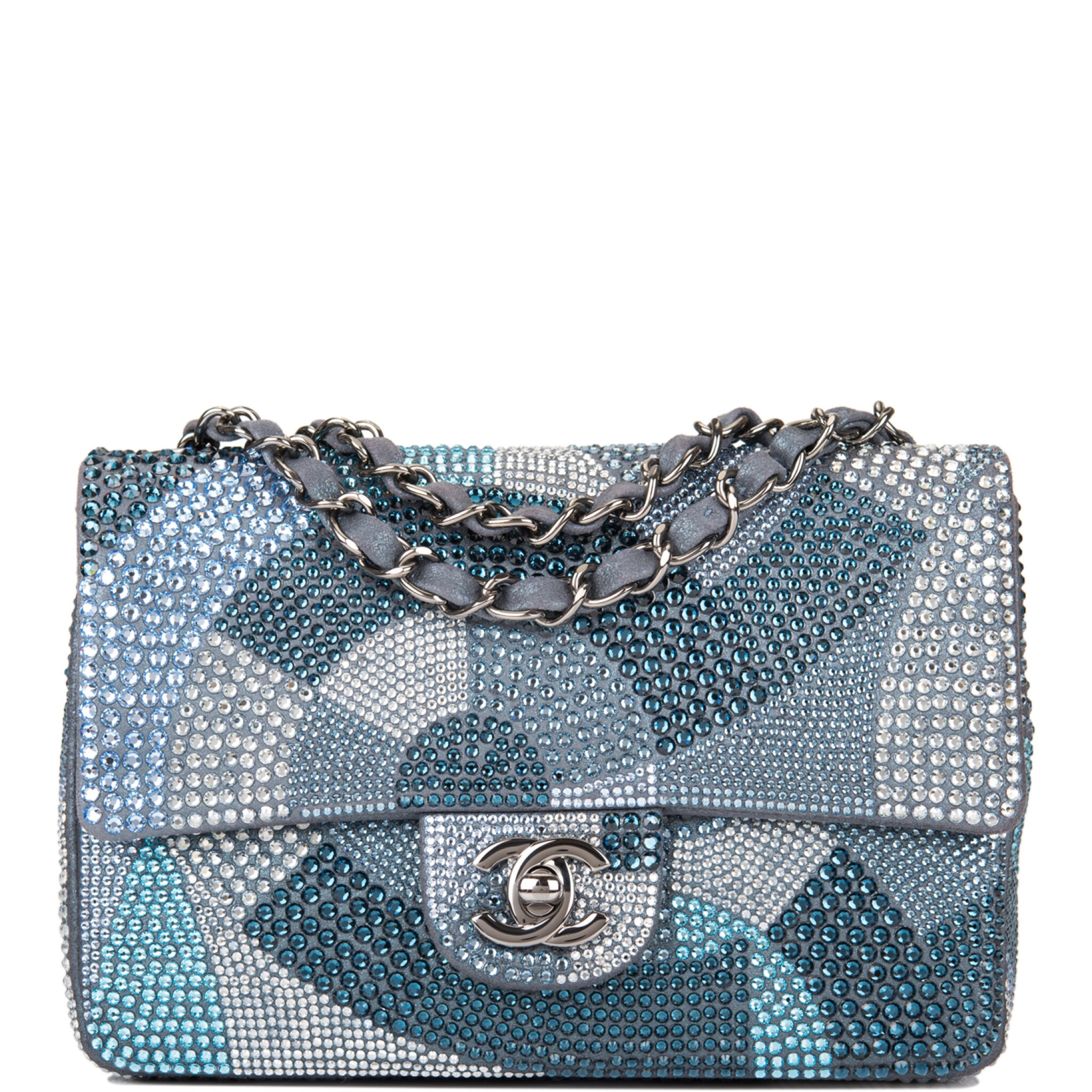 View full screen - View 1 of Lot 31. Chanel Multicolor Strass Flap Bag of Swarovski Crystals and Grey Leather with Silver Tone Hardware.