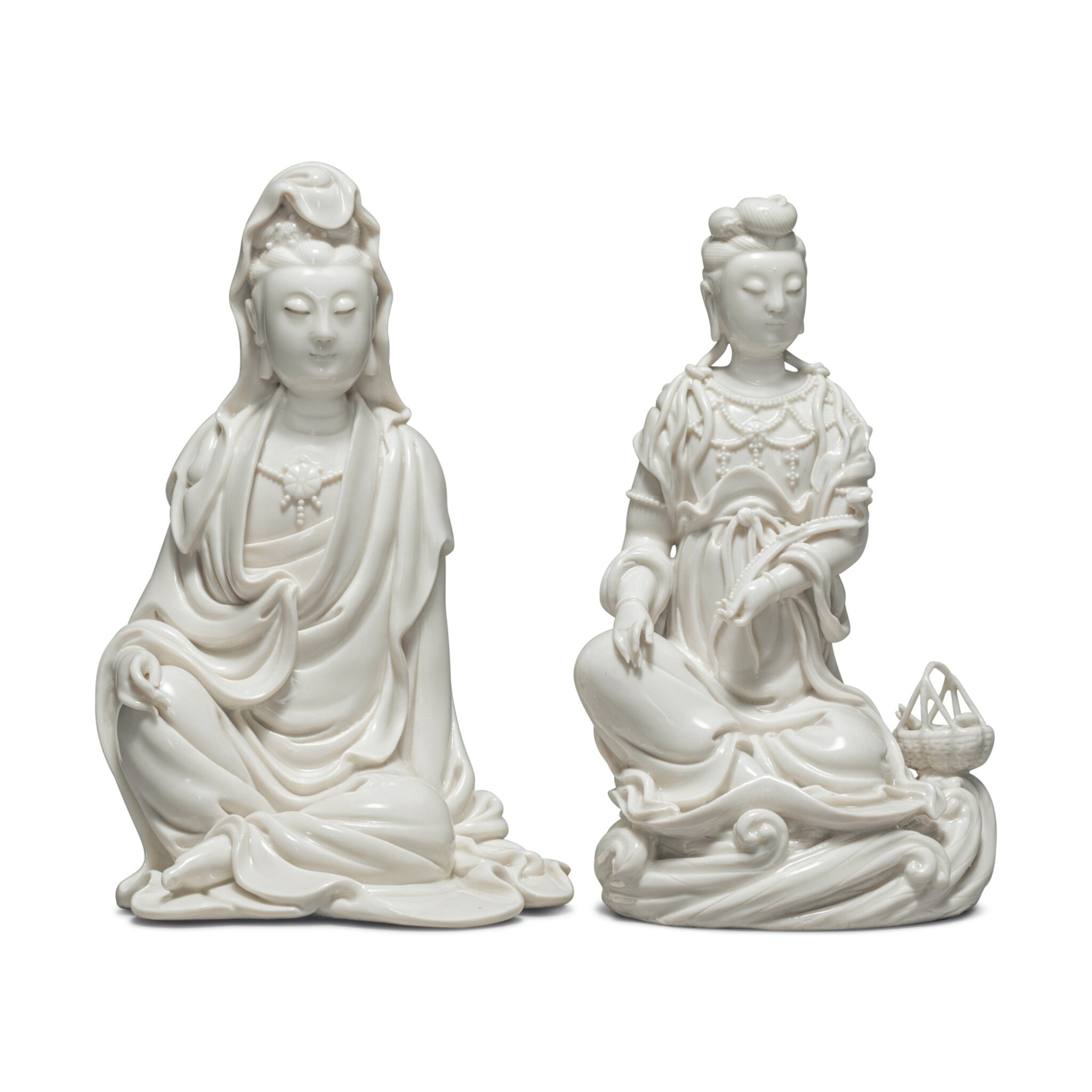 View full screen - View 1 of Lot 39. Two 'Dehua' figures of seated Guanyin, 20th century.