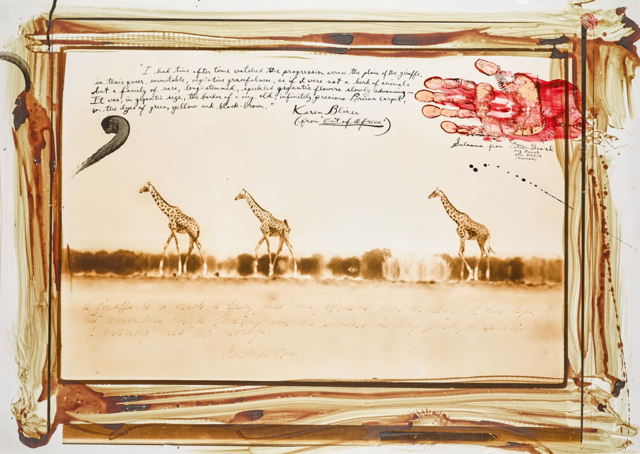 View full screen - View 1 of Lot 102. PETER BEARD  |  GIRAFFES IN MIRAGE ON THE TARU DESERT, KENYA, JUNE 1960.