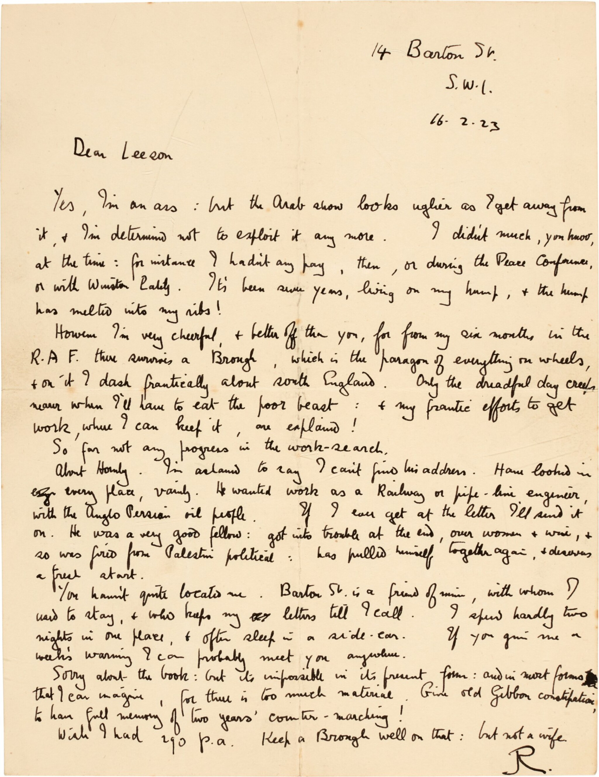 View full screen - View 1 of Lot 98. LAWRENCE | Autograph letter signed, to B.E. Leeson, on his discomfort with his Arab experiences, 16 February 1923.