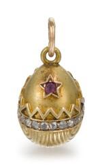 A Fabergé jewelled gold egg pendant, workmaster Erik Kollin, St Petersburg, circa 1900