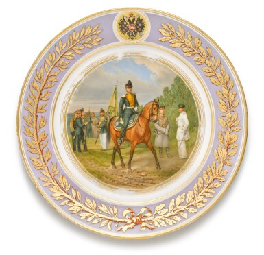 View 3. Thumbnail of Lot 107. Two porcelain military plates, Imperial Porcelain Factory, St Petersburg, period of Alexander II, 1875.