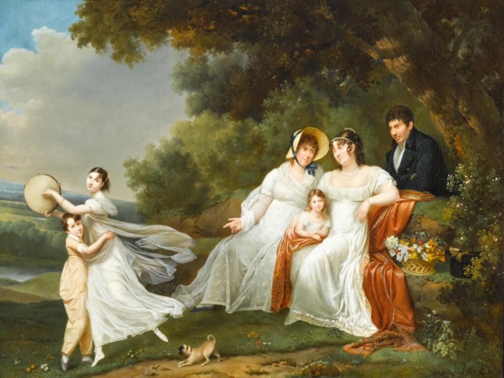 ADÈLE ROMANÉE, CALLED ROMANY | A portrait of a family with their pug in a river landscape