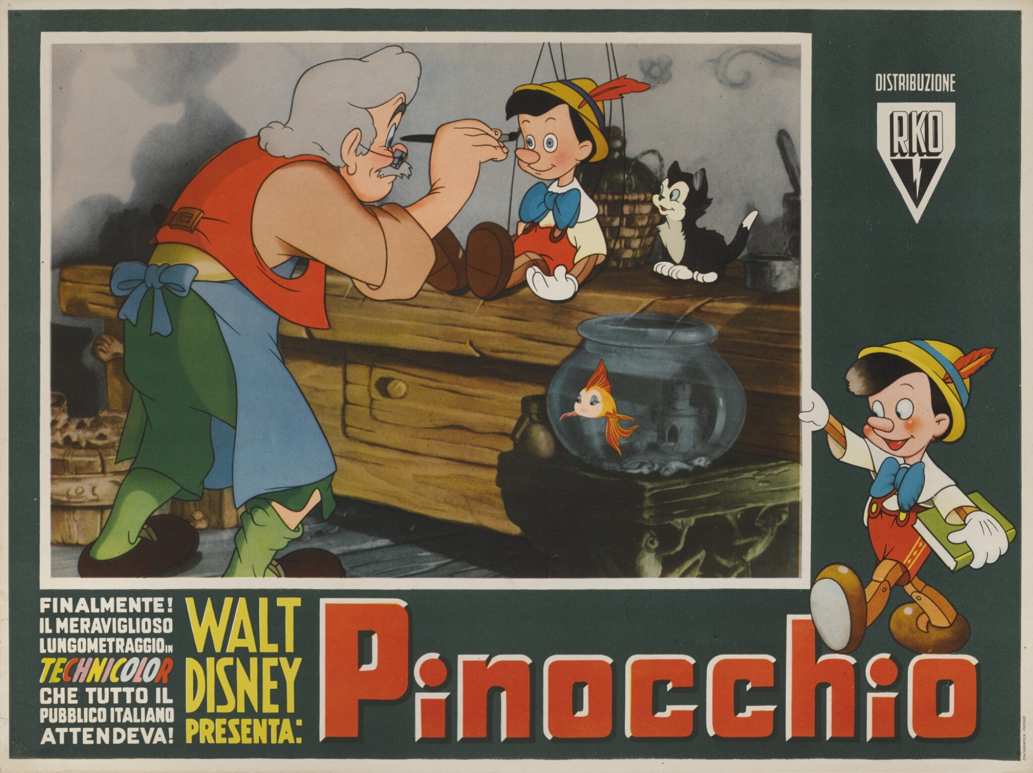 View full screen - View 1 of Lot 5. PINOCCHIO (1940) POSTER, ITALIAN.