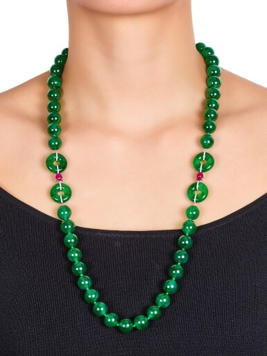 View 3. Thumbnail of Lot 1765. A Fine and Unique Jadeite Bead, Diamond and Ruby Necklace | 【四季平安】天然翡翠珠 配 鑽石 及 紅寶石 項鏈.