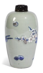 AN UNDERGLAZE BLUE AND RED CELADON-GLAZED MEIPING   QING DYNASTY, KANGXI PERIOD [TWO ITEMS]