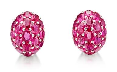 View 2. Thumbnail of Lot 1029. Pair of Ruby and Diamond Earrings | 格拉夫| 紅寶石 配 鑽石 耳環一對 (紅寶石及鑽石共重約33.50及1.80克拉).