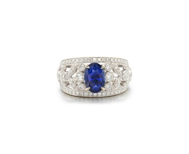 View 1. Thumbnail of Lot 22. SAPPHIRE AND DIAMOND RING.