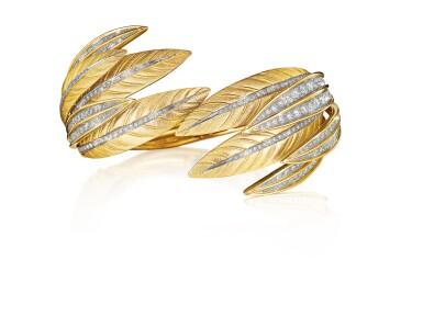 View 1. Thumbnail of Lot 55. VERDURA   GOLD AND DIAMOND 'TIARA FEATHER' CUFF-BRACELET.