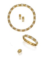 SUITE OF GOLD AND DIAMOND JEWELS, BULGARI | 黃金鑲鑽石首飾套裝,寶格麗