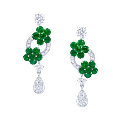 View 1. Thumbnail of Lot 142. GRAFF   PAIR OF EMERALD AND DIAMOND EARRINGS.