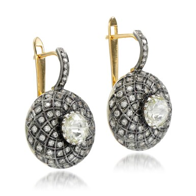 View 2. Thumbnail of Lot 26. Pair of diamond earrings, 'Indo Russian'.