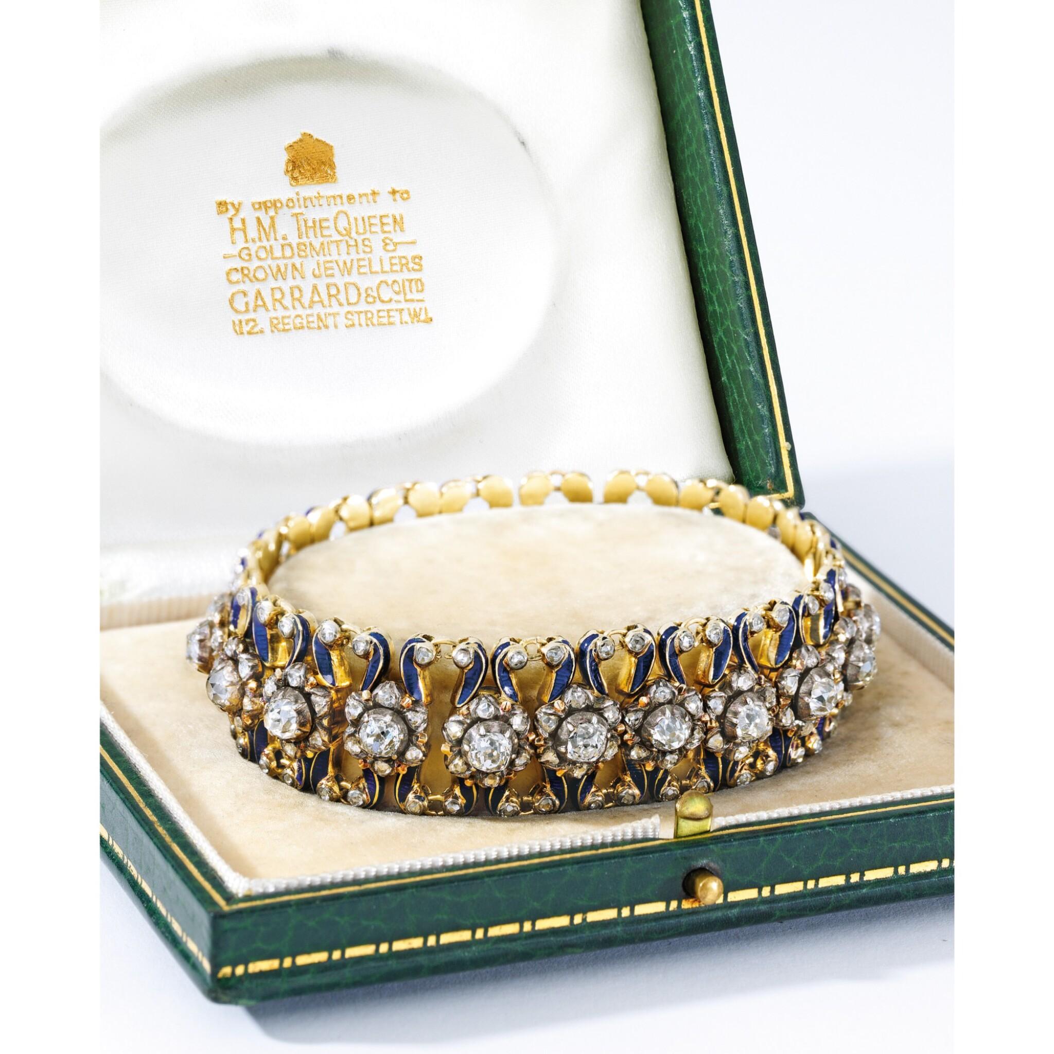 View full screen - View 1 of Lot 1688. GARRARD & CO. | ANTIQUE DIAMOND AND ENAMEL BRACELET    Garrard & Co. | 古董 鑽石 配 琺瑯彩 手鏈.