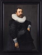 NICOLAES ELIASZ. PICKENOY   PORTRAIT OF A GENTLEMAN, THREE-QUARTER-LENGTH, IN BLACK SILK WITH A WHITE RUFF
