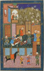 THE SULTAN AWAKENS THE DRUNKEN JUDGE AT DAWN, SCHOOL OF MAHMUD MUZAHHIB, CENTRAL ASIA, BUKHARA, SHAYBANID, THIRD QUARTER 16TH CENTURY